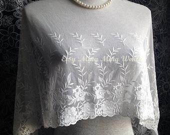 Mesh Fabric Lace Trim - 2 Yards Cotton Ivory Flower  Lace Trim  (L471)