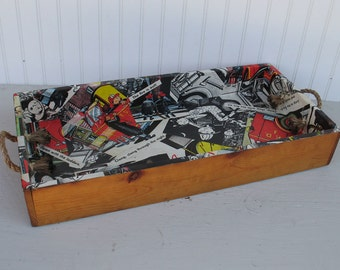 Vintage Wood Tray with Rope Handles - Decoupaged with Childrens Fire Truck Book - Primitive Box