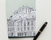 Edinburgh Journal , Scottish Journal,  Mint Green Journal, Edinburgh Castle Notebook, A5 sketchbook, Eco-friendly stocking filler