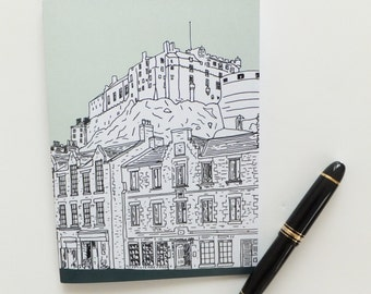 Edinburgh Journal , Scottish Journal,  Mint Green Journal, Edinburgh Castle Notebook, A5 sketchbook, Eco-friendly stocking filler