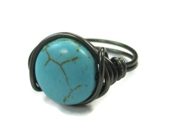 Boho Jewelry - Turquoise Ring, Wire Wrapped Gunmetal Ring