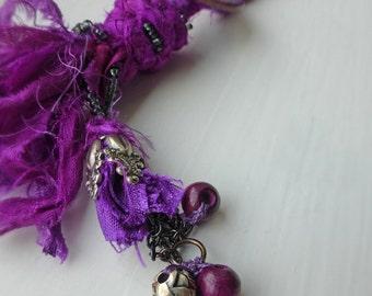 Purple Boho Sari Silk Wrap-Wear, Necklace and Bracelet