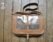 "brown and gold glitter leather handbag ""Paulette"""
