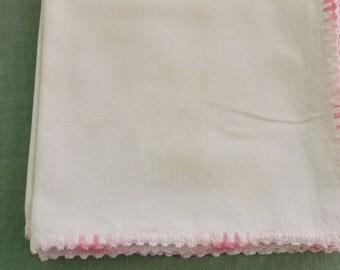 Vintage Napkins Off White Muslin with Variegated Pink Crochet Edge Detail 4 Napkins