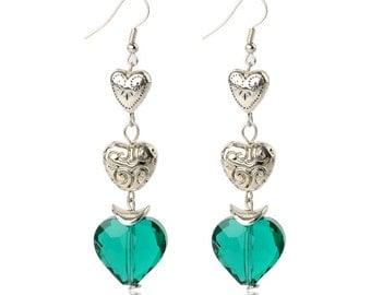 Teal Hearts Silver Dangle Earrings
