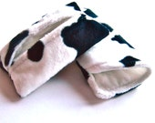 Fabric Glasses Case, Tissue Holder, Soft Sunglass Case, Tissue Cozy, Black and White Animal Print, Faux Fur, Pony, Cow