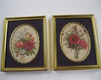 Antique French J.L. Prevost Botanical Floral Prints Unique GoldTone Square Frames & GoldTone Edged Oval Matting Lovely Vintage Home Decor