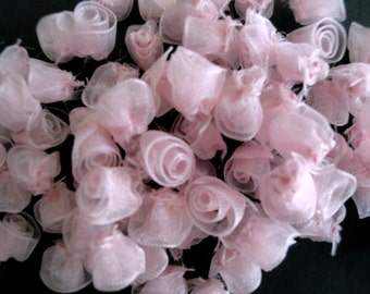 144 Pieces (One Gross) of Tiny Pink Organza Roses Flowers Scrapbooking Sewing Crafts Party Favors Fabric Roses Millinery Doll Clothes ST