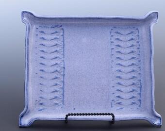 Handmade Decorative Ceramic Serving Tray Large Cobalt Textured Tray