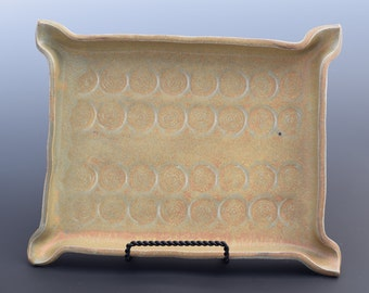 Handmade Ceramic Decorative Large Serving Tray Autumn Tray with Spiral Texture