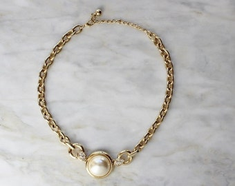 80s Gold Pearl Statement Bib Necklace Rhinestones Chain