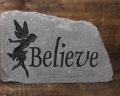 Engraved Natural Stone - Believe with fairy
