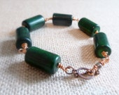 Chunky Green Stone And Copper Bracelet, Copper Toggle Bracelet, Wire Wrapped Bracelet, Green Copper Jewelry, Copper Wire, Green Stone Beads
