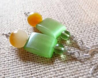Spring Green Glass Cat's Eye Earrings, Fiber Optic Beads, Long Dangle Earrings, Green Glass Jewelry, Spring Colors Jewelry, OOAK Handmade