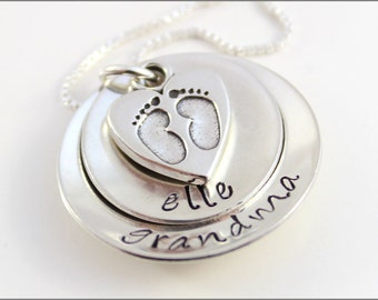 Grandma Necklace with Name and Baby Feet | Personalized Necklace, Silver Grandma Necklace, Baby Feet Necklace, Hand Stamped Jewelry