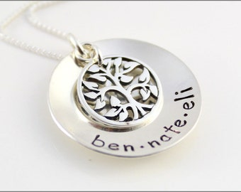 Custom Names Necklace in Sterling Silver with Tree of Life Necklace | Personalized Children's Names on Silver Disc Hand Stamped Jewelry
