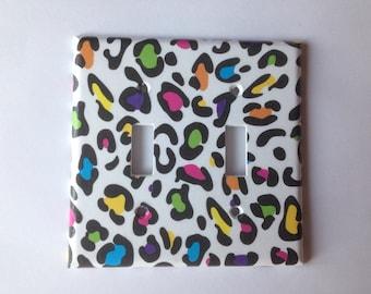 Rainbow Leopard Double Light Switch Plate Cover / Animal Print Decor/ Teen Bedroom Decor / Leopard Print Nursery