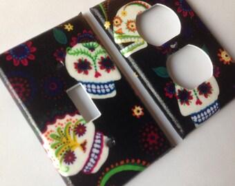 Sugar Skull Light Switch Plate Cover Set / Day Of The Dead / Sugar Skull Decor / Wall Decor / Calavera Home Decor / Sugar Skull Kitchen