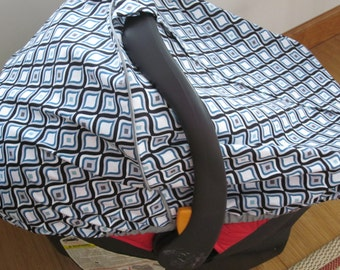 Car Seat Canopy- Blue, Gray, Black and White cotton fabric // Custom Fitted Car Seat Canopy