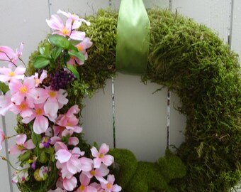 Squirrel Wreath  Spring and Summer Wreath   Moss Wreath  Front Door Wreath  Squirrel Wreath  Birthday Gift  Wedding Decor
