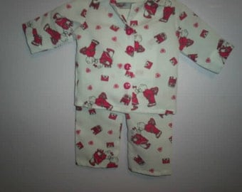 Valentine kissing bears pajamas for 18 inch doll like american girl doll