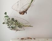 Hanging basket vintage fishing netting