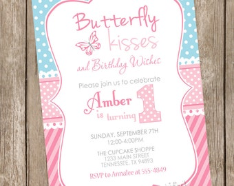 Butterfly kisses birthday invitation, butterfly invitation,  pink and blue birthday invitation, girl birthday invitation, pink and blue