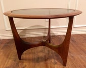Adrian Pearsall Danish Mid Century Modern Lane Round End Table Smoked Glass