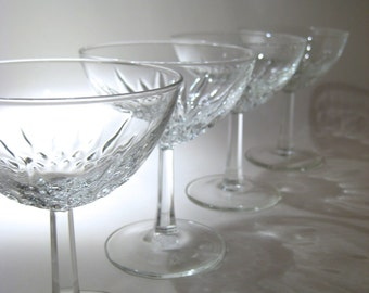 4 French Champagne Coupes with Faceted Stems