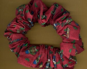 Christmas Hair Scrunchie #F Dressed Up Snowmen on Red SALE