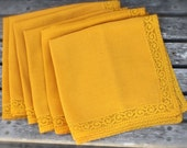 Vintage Golden Yellow Napkins, Mustard Yellow Cloth Napkins, Lace Trim, Vintage Linens, Set of 6