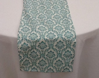 Aqua and White Damask Runner, Custom Sizes and Large Order Available, Wedding, Party, Shower, Home Decor