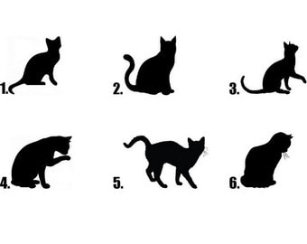 Waterslide Nail Decals Set of 20 - Black Kitty Cat Silhouette