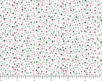 White Fabric Red Dots Green Dots Fabric Red Green Polka Dot Fabric Cotton Fabric Yardage Quilting Fabric Sewing Supplies YacketUSA