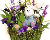 """Spring Floral Arrangement Easter Bunny Centerpiece Wildflower Arrangement Spring Silk Floral Bunny in a Basket 18"""" Large"""