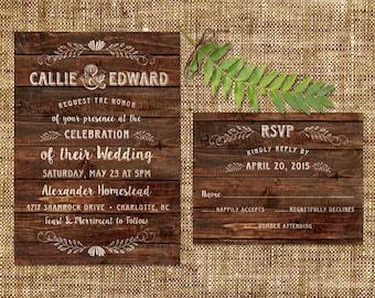 Rustic Wedding Invitation and RSVP Card - Dark Wood Planks  - Printable or Print Options