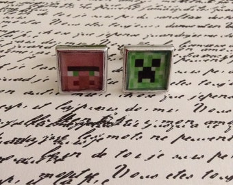 Unofficial item but Inspired by  Villager and Creeper CUFFLINKS (perfect for your Gamer, hubby, or groom)