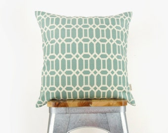 Dusty blue aqua and beige geometric outdoor pillow cover | Patio garden decor | 18x18 inches decorative throw pillow case, cushion cover