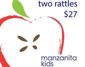 Two Wood Rattles Handmade Organic Teething Rattle // Eco Friendly and Sweet Boy or Girl Baby Gift