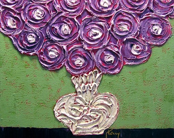 """Impasto Painting...Purple Flowers...Small Canvas Art...12 x 12"""" ...Floral Acrylic Painting...Texture"""