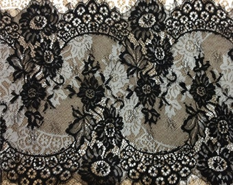 Chantilly Lace Trim Rose Floral Embroidery Eyelash Lace 12.9 Inches Wide or Wedding Veils Garter Invitation card Jewelry Supplies