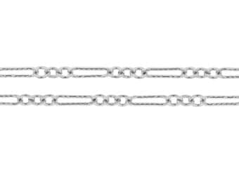 Sterling Silver 7x2mm Corrugated Flat Long and Short Cable Chain - 1ft (2383-1) CutChainSale