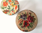 Pair of Vintage Embroidery Style Tins, Retro Baking Sewing Craft Storage, Set of Two