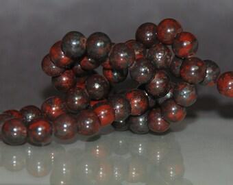 Half Strand 6mm Bloodstone Gemstone Beads - 30 beads