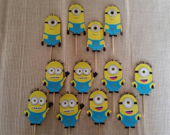 Despicable Me Minions Cupcake Toppers toothpicks birthday party decorations diecut cardstock  picks 3 kinds set of 12