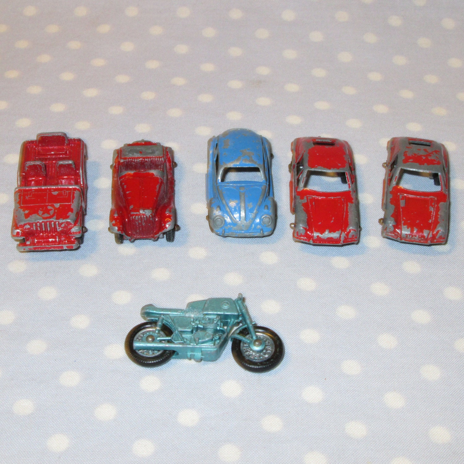 Set Of 6 Vintage Tootsie Toy Cars Porsche Jeep By PeaPickins