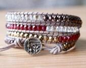 Beaded leather wrap bracelet, Bohemian trendy jewelry, Bronze, red, garnet, crystal twilight, antique, boho chic, gift idea, hipster