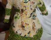 American Girl doll 18 in doll doll overskirt, underskirt, bright, butterflies, green trim, ties in back, multiple buttons, spring, summer