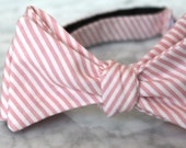 Bow tie in tiny coral stripes- Groomsmen and wedding tie - clip on, pre-tied with strap or self tying - wedding ring bearer outfit