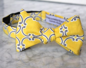 Bow Tie in Yellow and Gray Tiles - Groomsmen and wedding tie - clip on, pre-tied with strap or self tying
